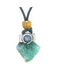 Handcrafted Free Form Rough Green Quartz and Sodalite Cabochon Amulet Pendant Adjustable Necklace