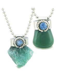 Handcrafted Free Form Tumbled and Rough Green Quartz Sodalite Cabochon Amulet Love Couples Set Necklaces