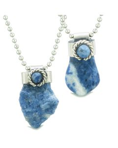 Handcrafted Free Form Tumbled and Rough Sodalite and Sodalite Cabochon Amulet Love Couples Set Necklaces