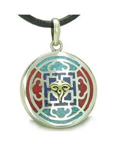 Amulet Ancient Tibetan Buddha All Seeing Eye RDO RJE Turquoise Lapis Lazuli MedalliNecklace