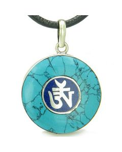 Amulet Ancient OM Tibetan Spiritual Protection Turquoise Lapis Lazuli Medallion Pendant Necklace