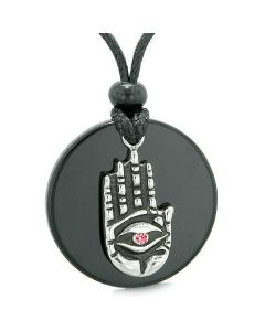 All Seeing Feeling Buddha Eye Hamsa Magic Agate Pink Crystal Pendant Necklace