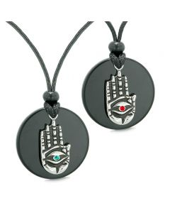 All Seeing Feeling Buddha Eye Hamsa Love Couples Best Friends Agate Red Green Medallion Necklaces