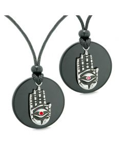 All Seeing Feeling Buddha Eye Hamsa Love Couples or Best Friends Agate Red Pink Medallion Necklaces
