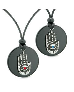 All Seeing Feeling Buddha Eye Hamsa Love Couples or Best Friends Agate Red Blue Medallion Necklaces