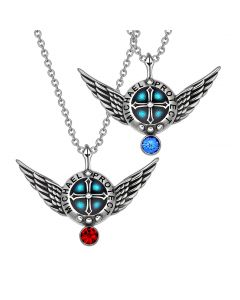 Angel Wings Archangel Michael Love Couples or Best Friends Set Shield Amulet Pendant Necklaces