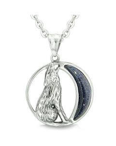 """Amulet Howling Wolf and Wild Moon Spiritual Powers Blue Goldstone Pendant on 18"""" Necklace"""
