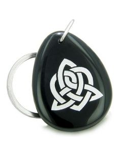Amulet Triple Magic Energy Celtic Triquetra Shield Knot Spiritual Powers Onyx Totem Keychain Ring