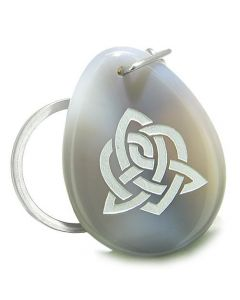 Amulet Triple Magic Energy Celtic Triquetra Shield Knot Good Luck Agate Totem Keychain Ring