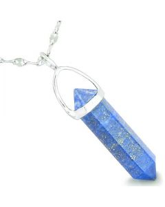 "Amulet 925 Sterling Silver Lapis Lazuli Crystal Point Natural Energy Good Luck Powers Pendant on 22"" Steel Necklace"
