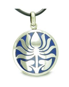 Amulet Ancient Lotus Flower Tibetan Symbol Magic Powers Lapis Lazuli Medallion Pendant Necklace