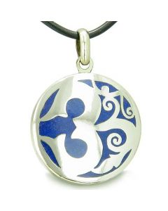 Amulet Ancient OM Tibetan Symbol Magic Powers Lapis Lazuli Medallion Pendant Necklace