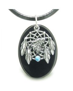 Howling Wolf Dreamcatcher Amulet Spiritual Protection Powers Black Onyx Leather Cord Necklace