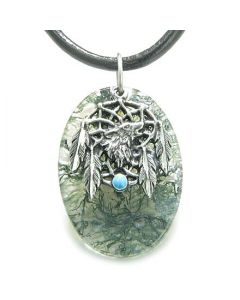 Howling Wolf Dreamcatcher Amulet Good Luck Powers Green Moss Agate Pendant Leather Cord Necklace