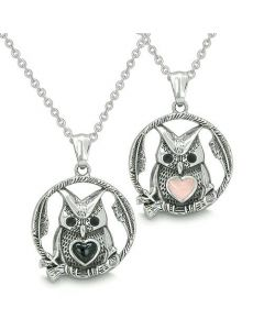 Amulets Owl and Cute Heart Love Couples Best Friends Positive Energy Onyx Pink Cats Eye Necklaces