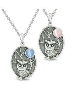 Amulets Love Couple or Best Friends Owl Wild Woods Magic Moon Aqua Blue Pink Cats Eye Necklaces