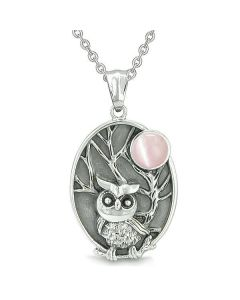 """Amulet Owl and Wild Woods Magic Moon Charm Pink Cat's Eye Gem Pendant on 18"""" Necklace"""