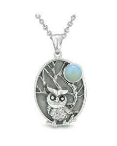 """Amulet Owl and Wild Woods Magic Moon Charm Opalite Crystal Pendant on 22"""" Necklace"""