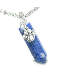 Amulet Lucky Wolf Paw Crystal Point Charm Sodalite Gemstone Good Luck Protection Pendant Necklace