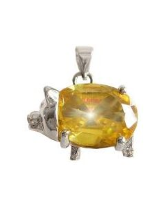 Lucky Pig and Money Symbol Faceted Yellow Crystal Pendant