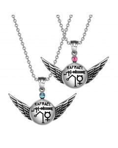 Archangel Raphael Magic Amulets Love Couples Set Angel Wings Pendant Necklaces