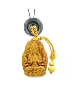 Blooming Lotus Kwan Yin Quan Car Charm or Home Decor Black Agate Lucky Coin Donut Protection Amulet