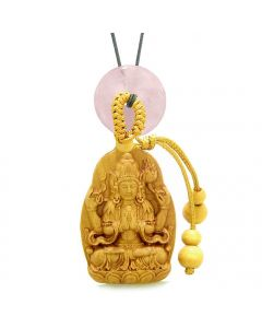 Blooming Lotus Kwan Yin Quan Car Charm or Home Decor Rose Quartz Lucky Coin Donut Protection Amulet