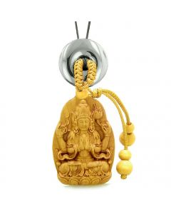 Blooming Lotus Kwan Yin Quan Car Charm or Home Decor Hematite Lucky Coin Donut Protection Amulet