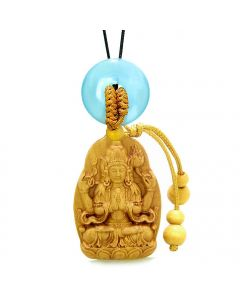 Blooming Lotus Kwan Yin Quan Car Charm or Home Decor Blue Simulated Cat Eye Lucky Donut Amulet