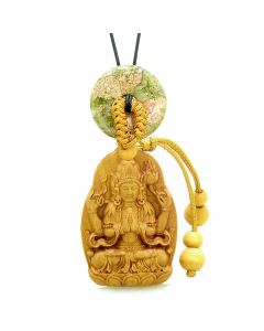 Blooming Lotus Kwan Yin Quan Car Charm or Home Decor Unakite Lucky Coin Donut Protection Amulet