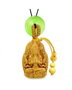 Blooming Lotus Kwan Yin Quan Car Charm or Home Decor Green Simulated Cats Eye Lucky Donut Amulet