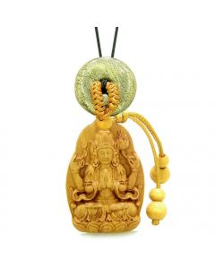 Blooming Lotus Kwan Yin Quan Car Charm or Home Decor Golden Pyrite Iron Lucky Coin Donut Amulet