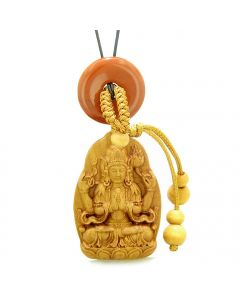 Blooming Lotus Kwan Yin Quan Car Charm or Home Decor Red Jasper Lucky Coin Donut Protection Amulet