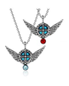 Angel Wings Archangel Raphael Love Couples or Best Friends Set Shield Amulet Pendant Necklaces