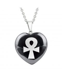 Amulet Ankh Egyptian Powers of Life Protection Energy Hematite Puffy Heart Pendant 18 Inch Necklace