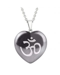 Amulet Ancient OM Ohm Egyptian Powers Protection Energy Hematite Puffy Heart Pendant Necklace