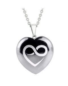 Amulet Infinity Eternity Heart Love Power Protection Energy Hematite Puffy Heart Pendant Necklace