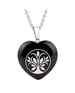 Amulet Tree of Life Magical Powers Protection Energy Black Agate Puffy Heart Pendant Necklace