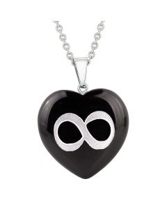 Amulet Infinity Magical Unity Powers Protection Energy Black Agate Puffy Heart Pendant Necklace