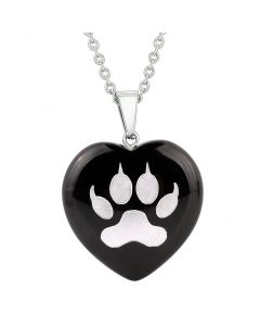 Amulet Wolf Paw Courage Magical Powers Protection Energy Black Agate Puffy Heart Pendant Necklace