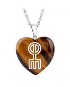 Amulet Norse Rune Love Spell Magic Powers Protect Energy Tiger Eye Puffy Heart Pendant Necklace