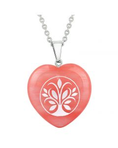 Amulet Tree of Life Magical Powers Energy Cherry Simulated Quartz Puffy Heart Pendant Necklace