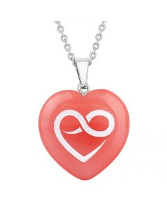 Amulet Infinity Eternity Heart Love Powers Cherry Simulated Quartz Puffy Heart Pendant Necklace