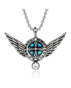 Archangel Samael Angel Wings Shield Protection Magic Power Amulet Pendant Necklace