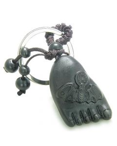 Amulet Sandal Wood Cute Magic Foot Lucky Bat Feng Shui Coin Good Luck ProtectiKeychain Charm