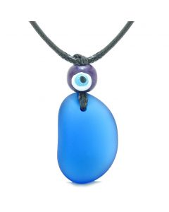 Free Form Unique Frosted Sea Glass Ocean Blue Water Drop Evil Eye Protection Amulet Adjustable Necklace