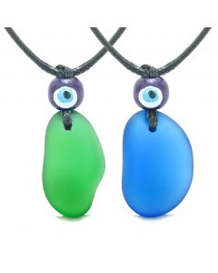 Free Form Unique Sea Glass Ocean Blue Forest Green Love Couples BFF Set Protection Amulet Drop Necklaces