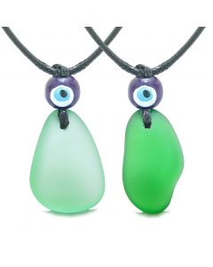 Free Form Unique Sea Glass Forest and Mint Green Love Couples BFF Set Protection Amulet Drop Necklaces