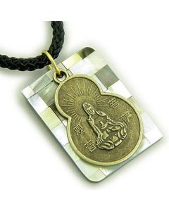 Amulet Lucky Kwan Yin Quan and Natural Shell Pendant Necklace