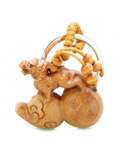 Amulet Fortune Dragon Riding on Magic Wulu and Lucky Coin Feng Shui Symbols Keychain Blessing